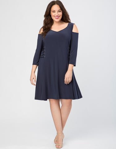 Cold Shoulder Lace Up Sides Dress