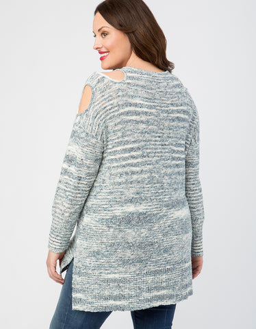 Marled Cold Shoulder V-Neck Sweater