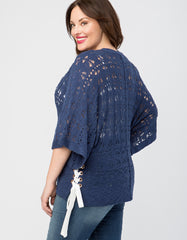 Lace Up Side Draped Short Sleeve Sweater
