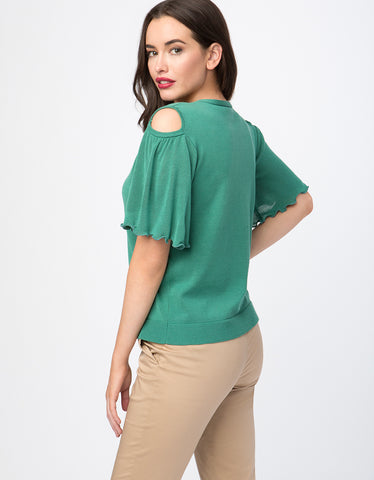Ruffle Short Sleeve Cold Shoulder Sweater