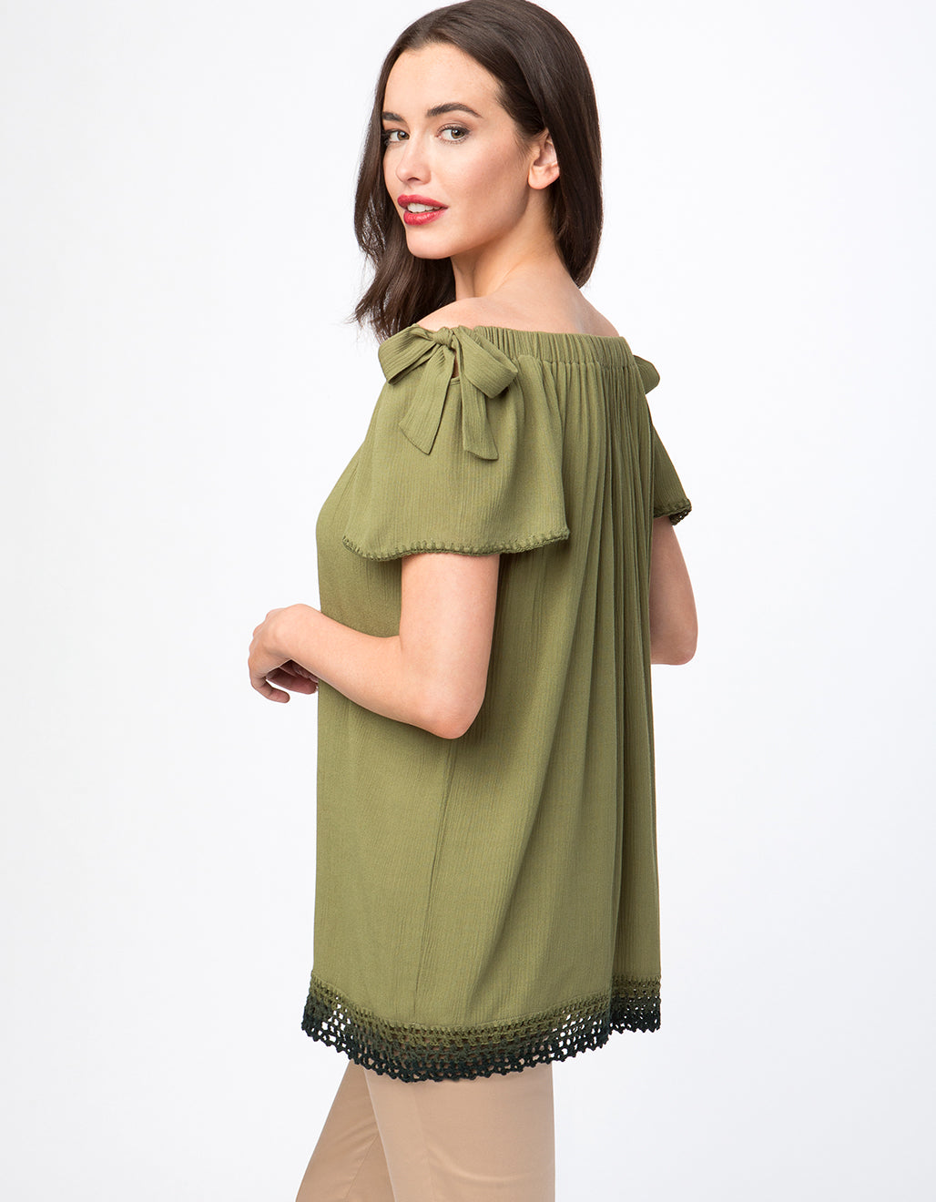Crinkle Off The Shoulder Tie Sleeve Top