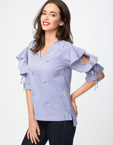 Floral Embroidery Ruffle Sleeve Top