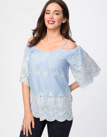 Embroidered Cold Shoulder Striped Cotton Top