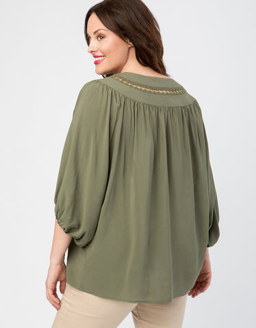 Woven Ring Dolman Sleeve Peasant Blouse