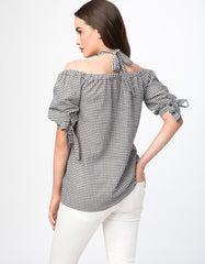 Gingham Halter Neck Short Sleeve Top