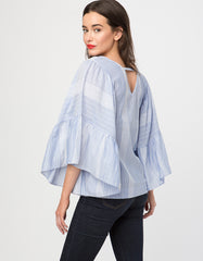 V-Neck Wide Bell Sleeve Top