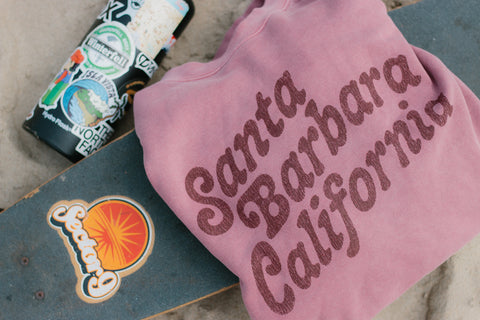 Santa Barbara Throwback Maroon Pigment Crew
