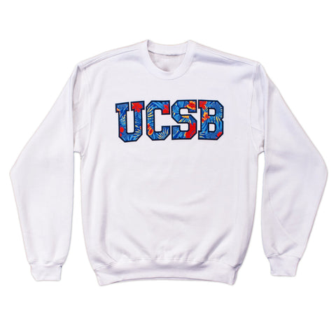 UCSB Floral White Crewneck