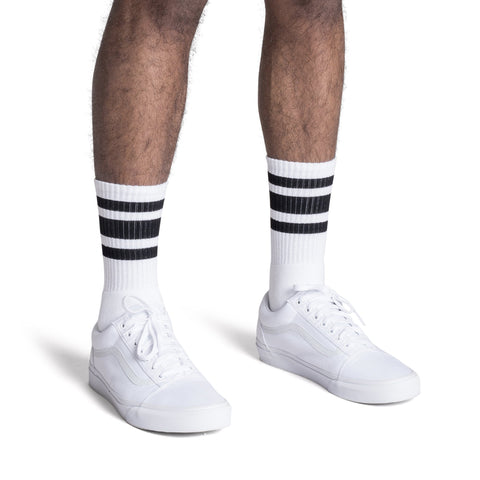 70s Inspired Gym Socks - Black and White