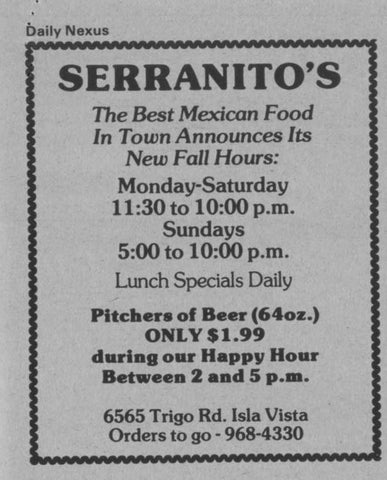 The Nostalgia Collection - Serranito's Mexican Food