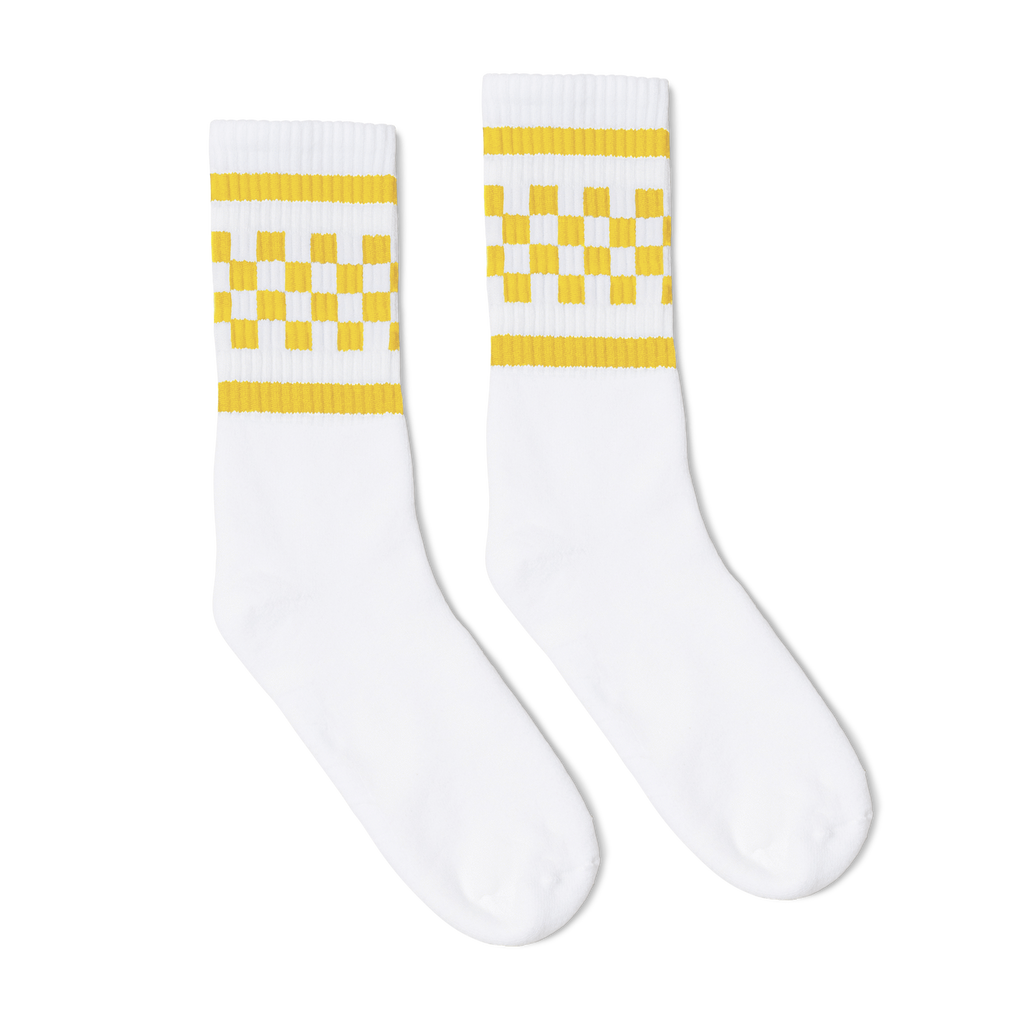 Yellow Checker Tube Socks