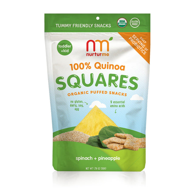 Quinoa Squares <br/> pineapple + spinach <br/>5 snack packs