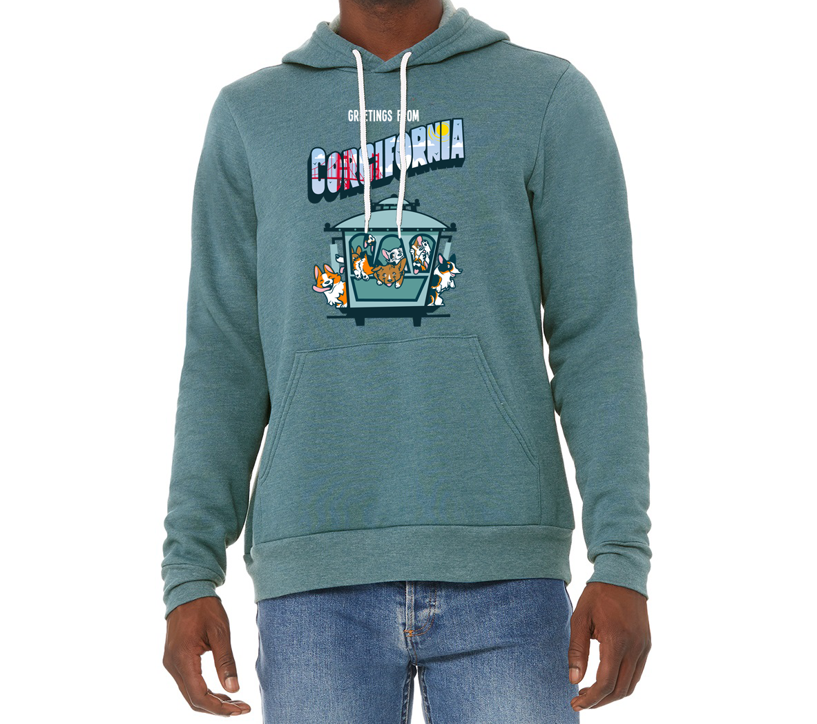 5th ANNIVERSARY CORGIFORNIA® CABLE CAR | UNISEX SWEATSHIRT IN SMALL AND LARGE ONLY