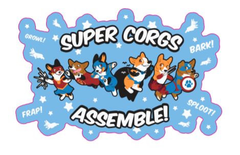 Super Corgs Assemble Vinyl Sticker