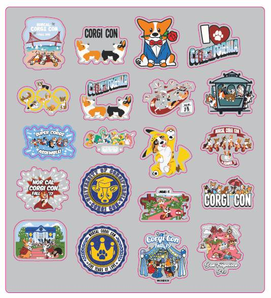 5th ANNIVERSARY CORGI CON STICKERS