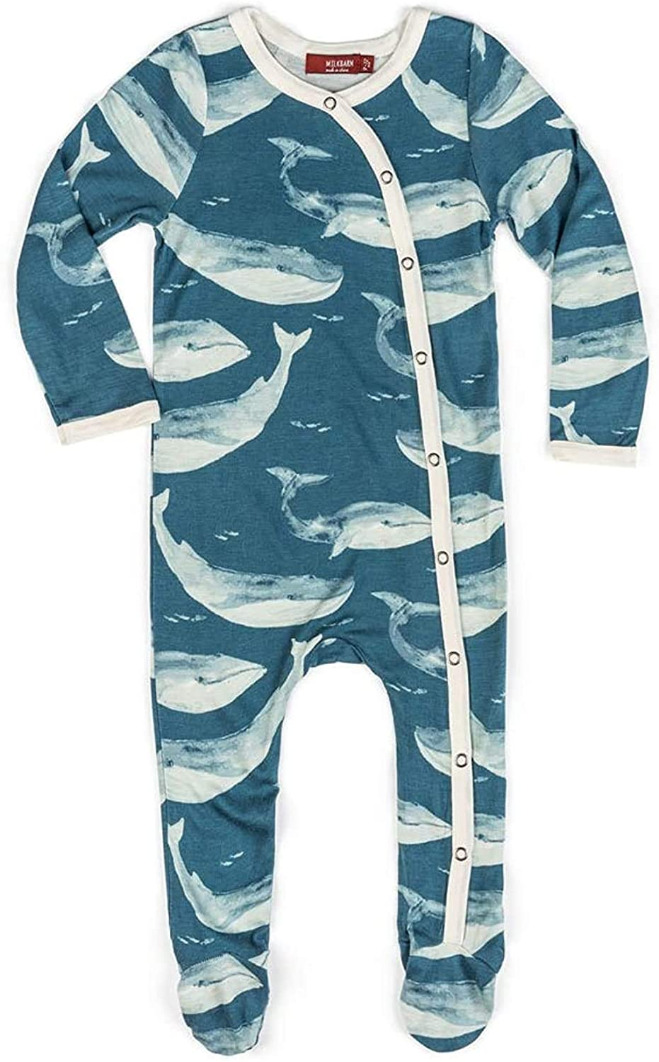 Blue Whale Bamboo Footed Romper 6-9 M Milkbarn Baby Baby