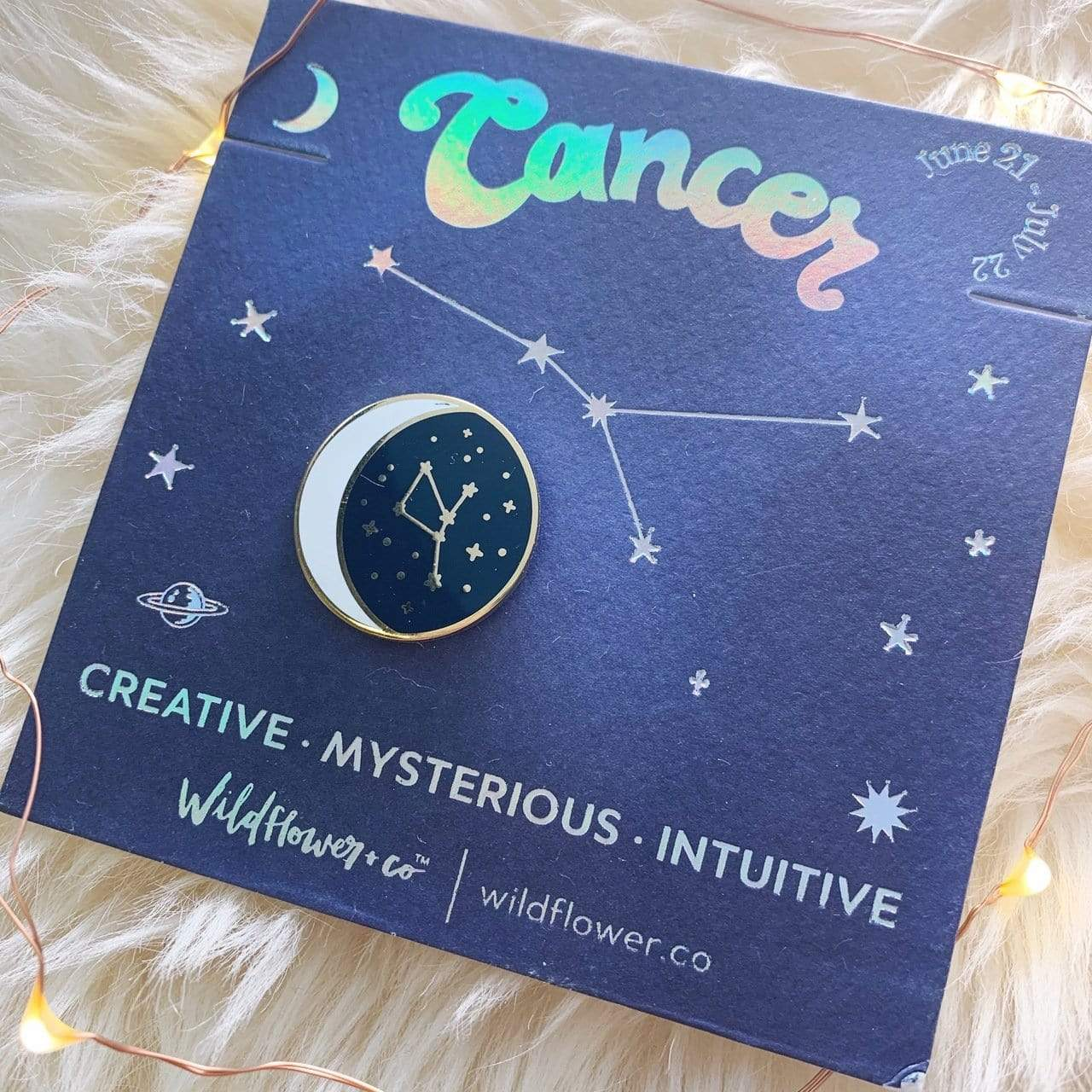 Constellation Zodiac Enamel Pin - Cancer Wildflower + Co. / Faire Jewelry