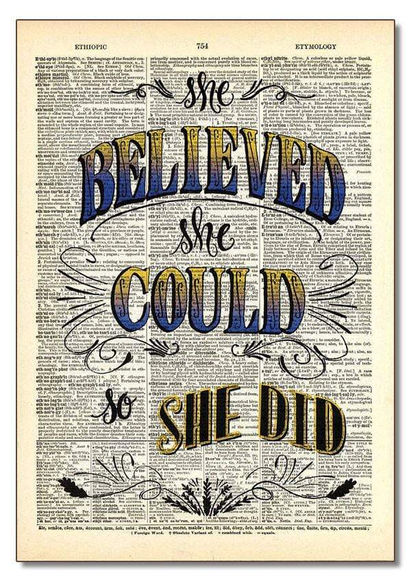 Dictionary Art - She Believed She Could (Script) Vintage Dictionary Art Home Decor