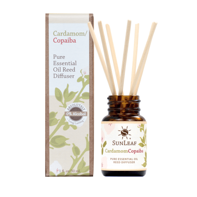 Essential Oil Reed Diffuser - Cardamom/Copaiba 1 oz SunLeaf Naturals LLC Candles & Home Fragrance