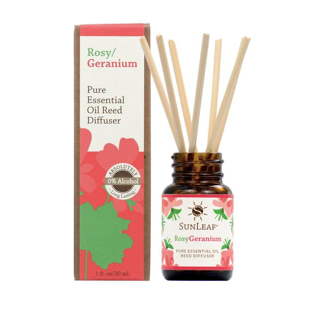 Essential Oil Reed Diffuser - Rosy/Geranium 1 oz SunLeaf Naturals LLC Candles & Home Fragrance