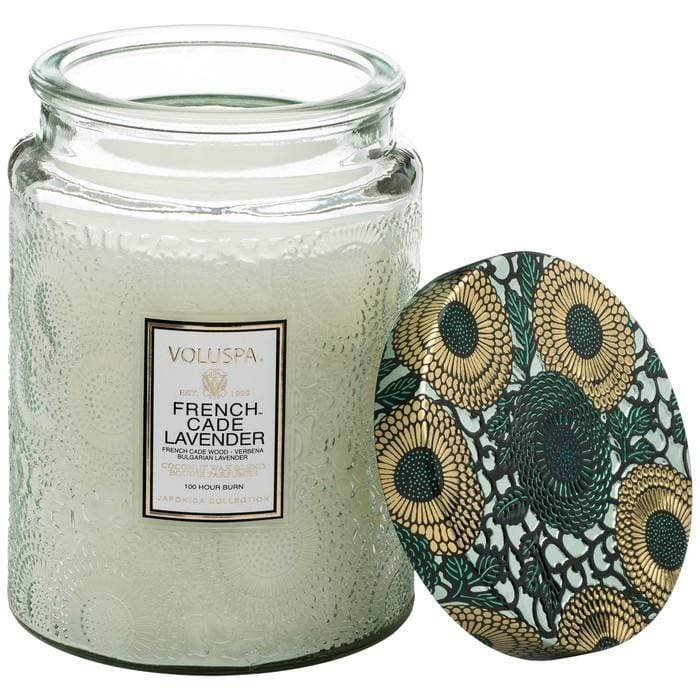 French Cade Lavender Large Glass Jar Candle by Voluspa Voluspa Candles & Home Fragrance