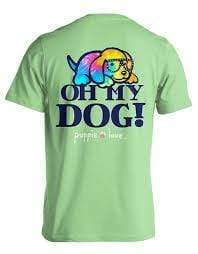 Oh My Dog Short Sleeve Tee - Mint Green Puppie Love Shirts