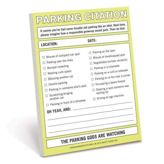 Parking Citation Nifty Notes Knock Knock Paper Goods