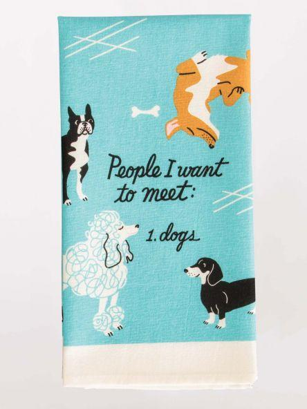 People To Meet: Dogs Dish Towel Blue Q Household Stuff