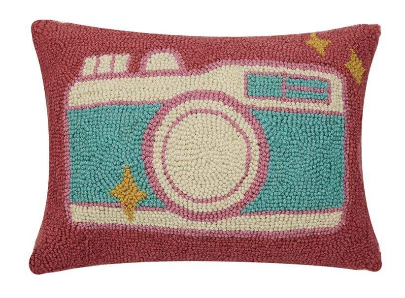 RETRO CAMERA Hooked Pillow Peking Handicraft Inc Home Decor
