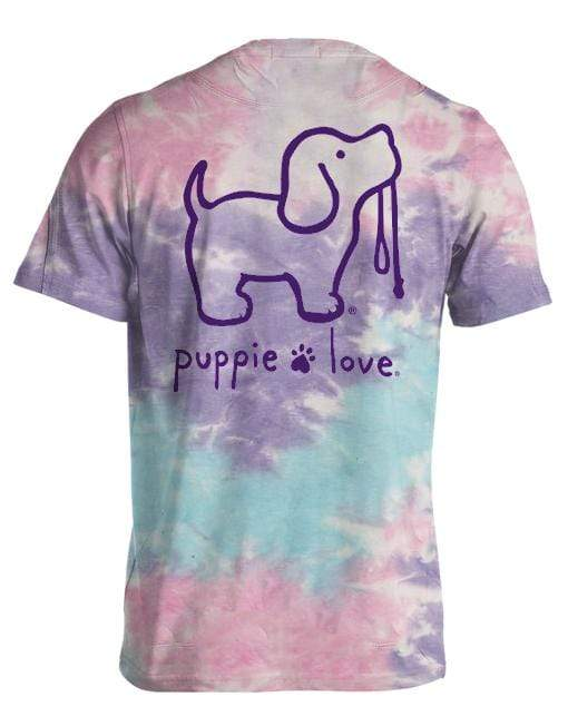 Tie Dye Pup Short Sleeve Pup Tee - Cotton Candy Puppie Love Shirts