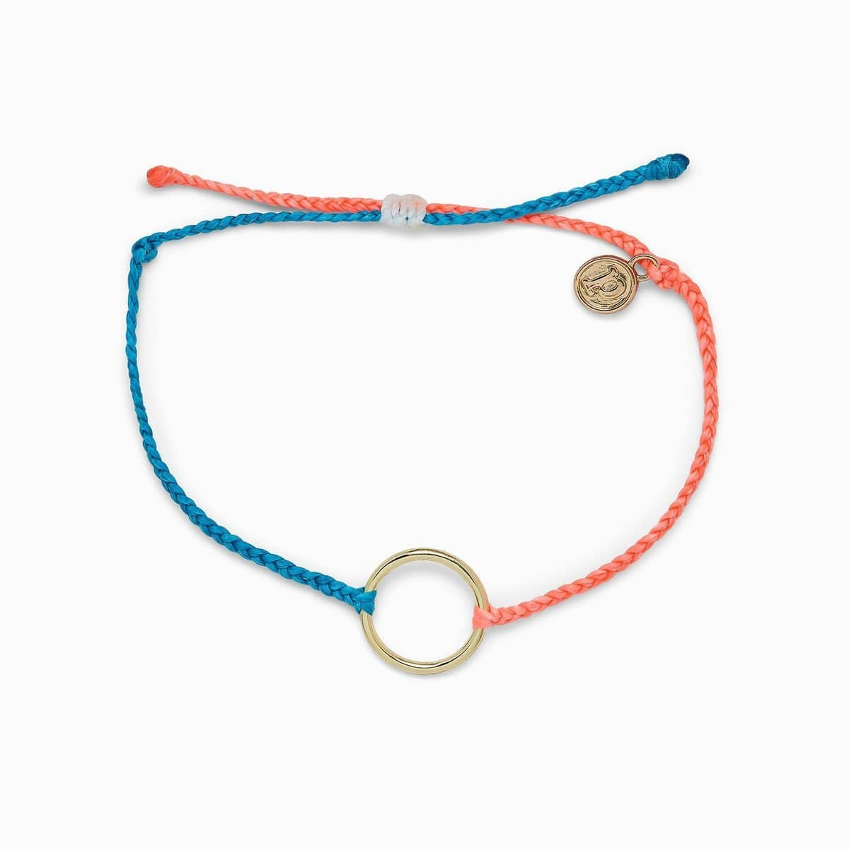 Two Tone Gold Circle Charm Bracelet - Neon Blue/Strawberry Pura Vida Bracelets Jewelry