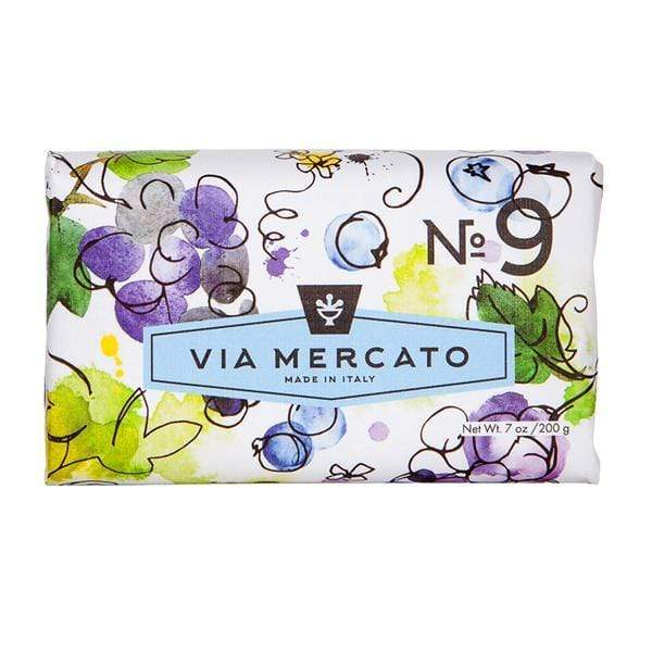 Via Mercato #9 Soap - Grape, Black Current  & Musk 7 OZ. European Soaps Bath & Body
