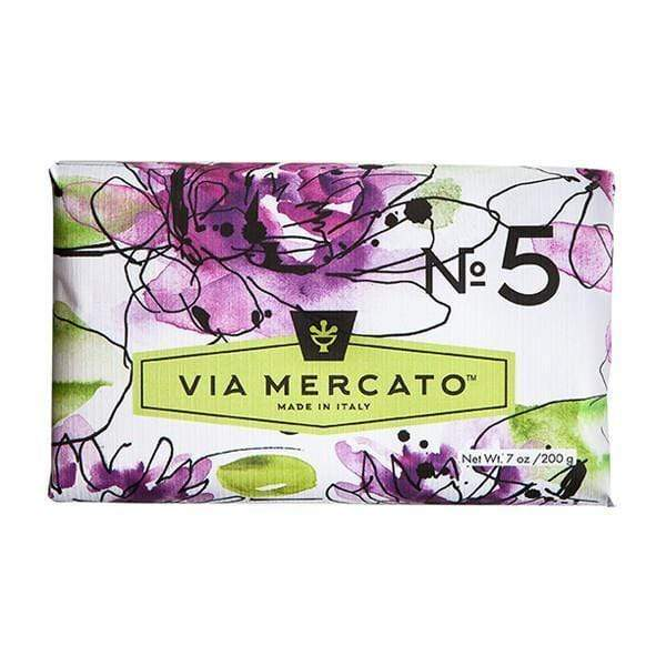 Via Mercato Soap  #5 - Waterlily & Sandalwood 7 oz. European Soaps Bath & Body