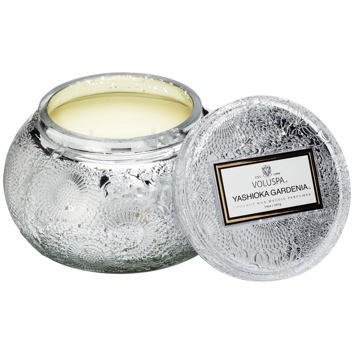 Yashioka Gardenia Embossed Glass Chawan Bowel Candle Voluspa Candles & Home Fragrance