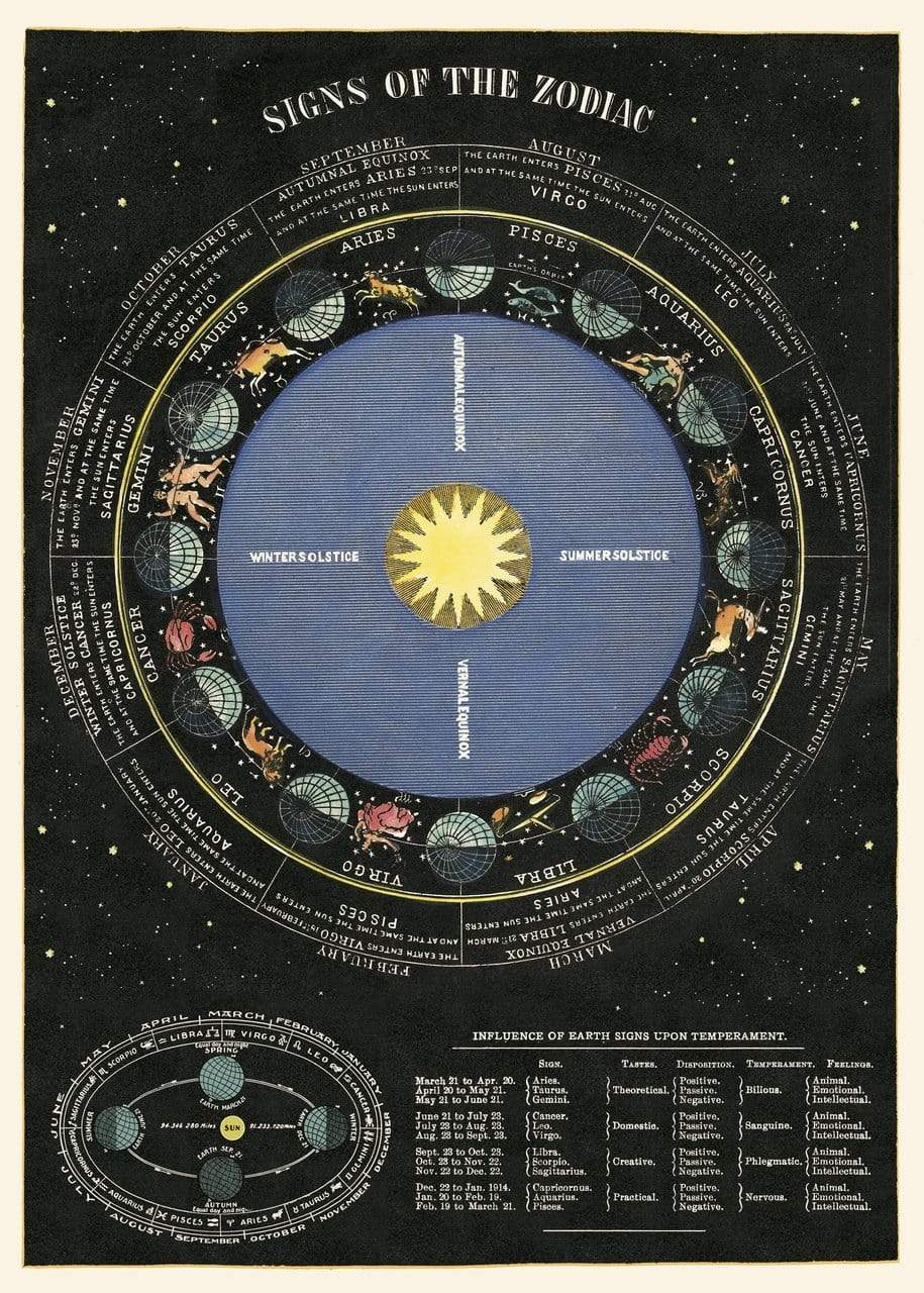 Zodiac Chart Art Paper Cavallini Papers Wall Decor
