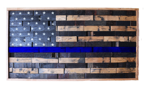 Whiskey Barrel American Flag Thin Blue Line Stock Pallet