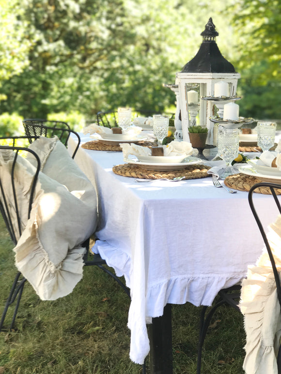 Ruffle Linen Table Cloth in Shabby Chic Style