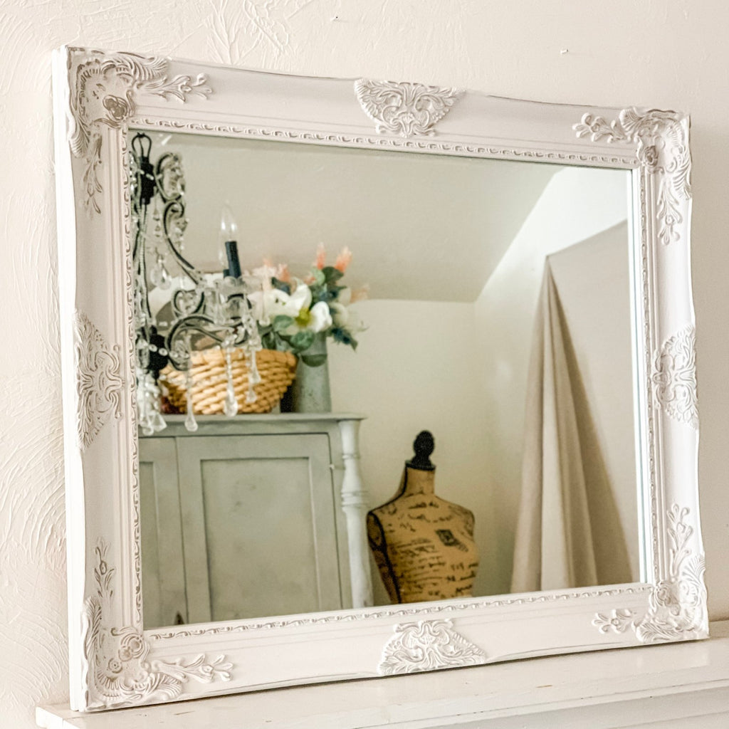white and grey mirror
