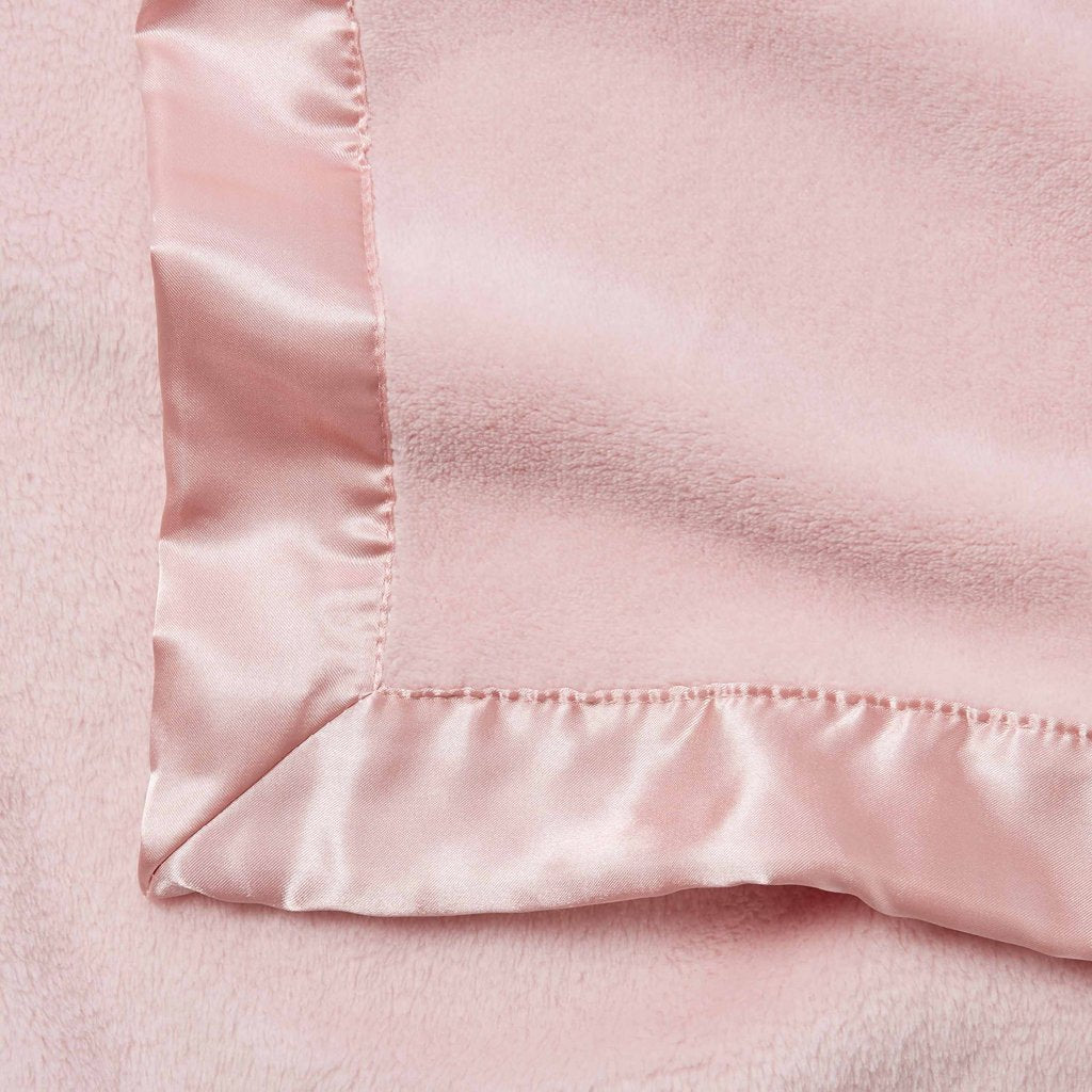 Soft Pink Fleece and Satin Baby Blanket