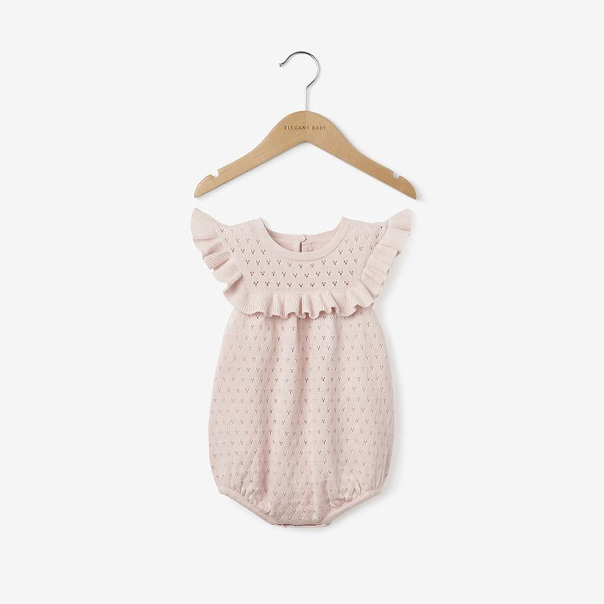 Soft Pink Pointelle Knit Bubble Baby Romper