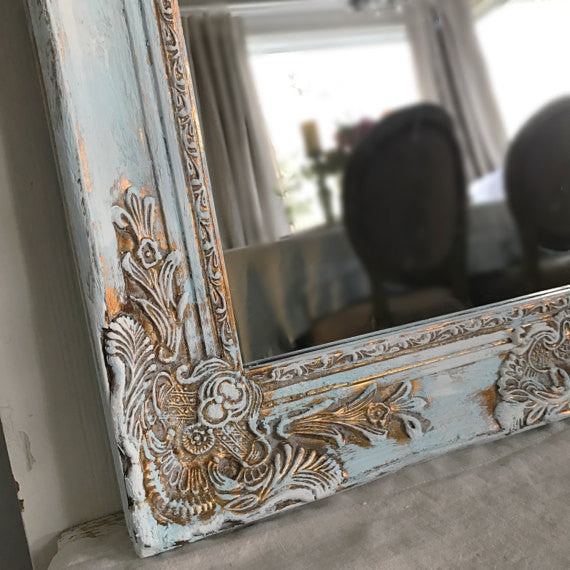 blue and gold thick painted mirror