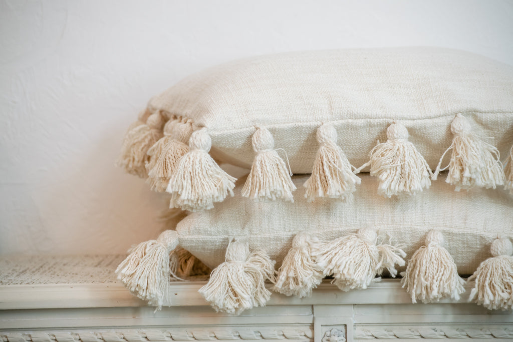 Square Cotton Tassel Pillow