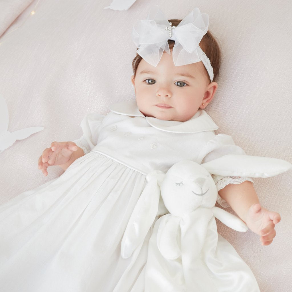 Embroidered Baptism Gown with Lace Bonnet