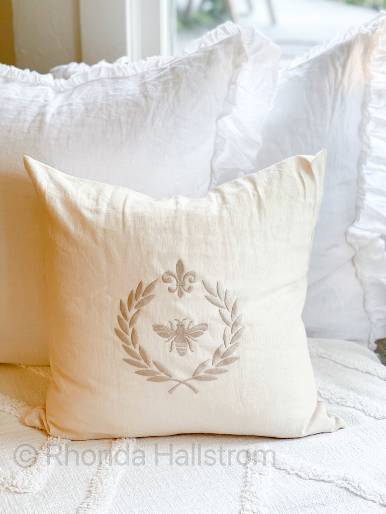 French Bee Linen Throw Pillow
