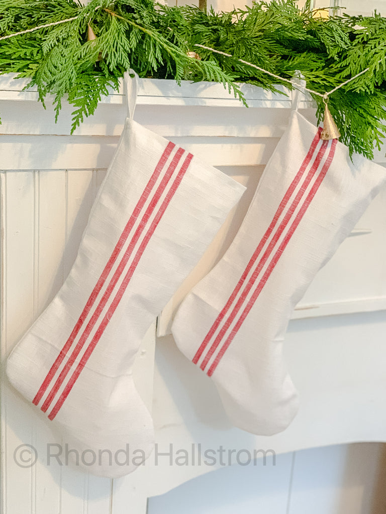 Farmhouse Ticking Stripe Christmas Stocking