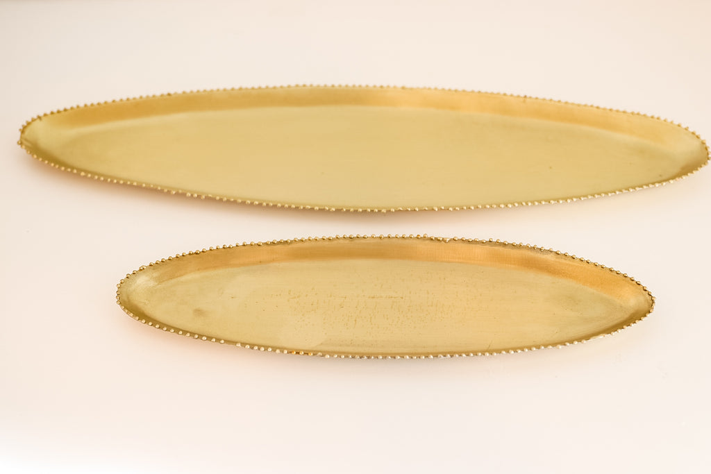 Gold Beaded Tray-Set of 2
