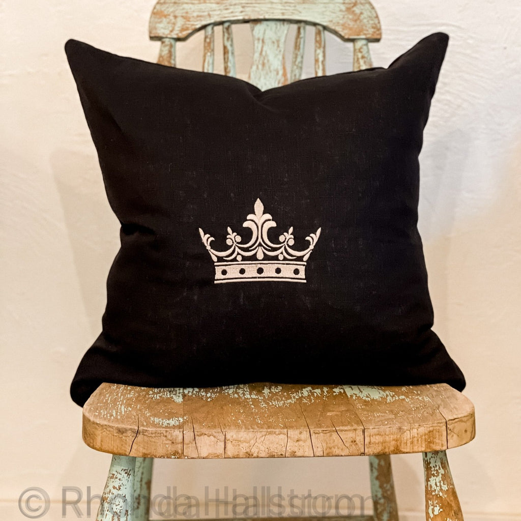 black embroidered linen pillow