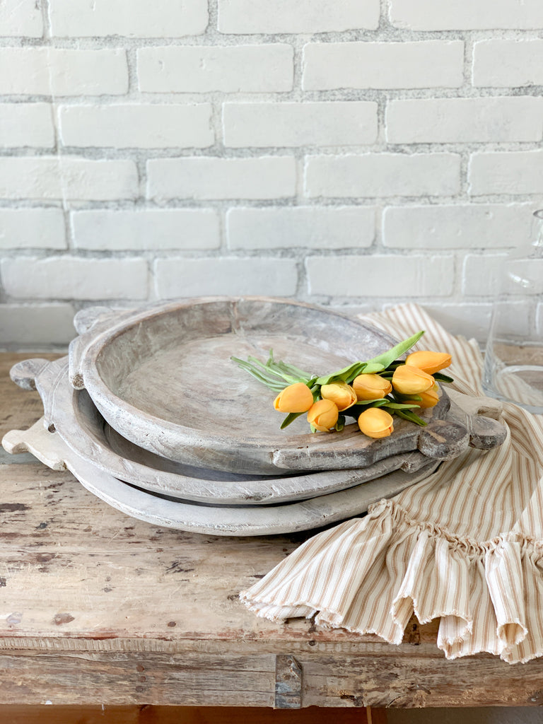 White Wash Farmhouse Bread board Tray