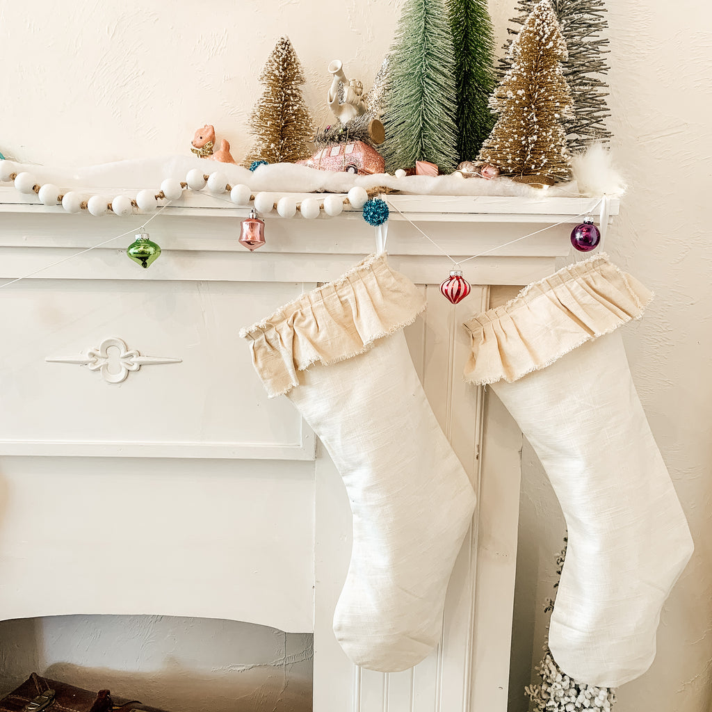 ruffle linen christmas stocking