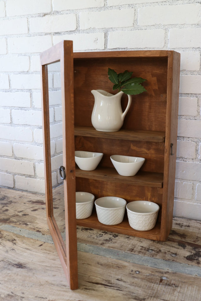 rustic wood cabinet farmhouse kitchen wall display case in natural wood with glass